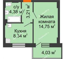 1 комнатная квартира 31,89 м² - ЖК Семейный