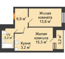 2 комнатная квартира 46 м² в ЖК Южный Берег, дом Литер 6 - планировка