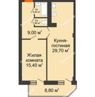 2 комнатная квартира 63 м², ЖК Sacco & Vanzetty, 82 (Сакко и Ванцетти, 82) - планировка