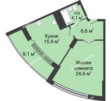 1 комнатная квартира 60,7 м² в ЖК Монолит, дом № 89, корп. 3 - планировка