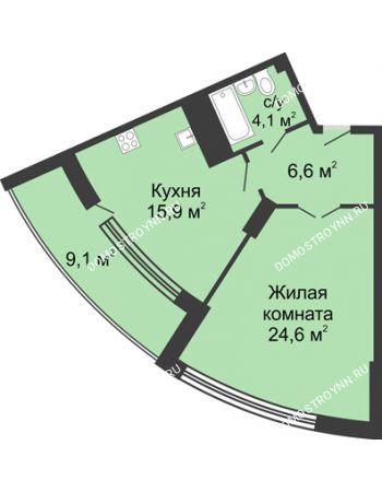 1 комнатная квартира 60,7 м² в ЖК Монолит, дом № 89, корп. 3