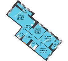 3 комнатная квартира 80,36 м² в ЖК Дом на Набережной, дом № 1 - планировка