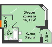1 комнатная квартира 31,1 м² в ЖК Перспектива, дом Литер 3.5 - планировка