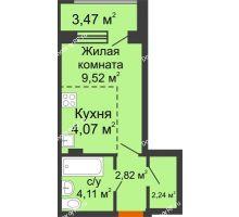 Студия 24,5 м² в ЖК Суворов-Сити, дом 2 очередь секция 1-5 - планировка