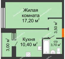 1 комнатная квартира 36,3 м² в ЖК 5 Элемент - Монолит (Пятый Элемент), дом Корпус 5-7 - планировка