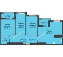 3 комнатная квартира 104,5 м² в ЖК Россия. Пять Столиц, дом 3 Этап - планировка