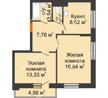 2 комнатная квартира 53,7 м², Жилой дом: ул. Сухопутная - планировка