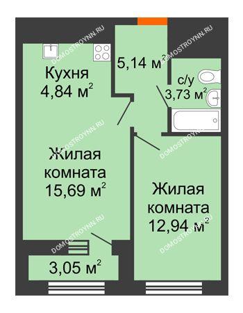 1 комнатная квартира 43,87 м² в ЖК Дом на Набережной, дом № 1