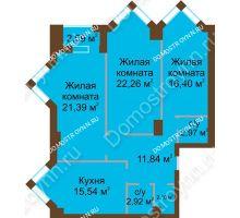 3 комнатная квартира 96,72 м² - ЖК Грани