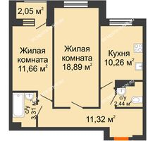 2 комнатная квартира 58,21 м² - Дом на Чаадаева