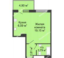 Студия 36,74 м² в ЖК Времена Года, дом № 1
