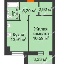 1 комнатная квартира 43,32 м² в ЖК Парк Горького, дом 62/18, № 6 - планировка