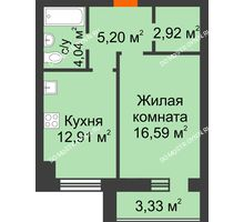 1 комнатная квартира 43,32 м² в ЖК Парк Горького, дом 62/18, № 6