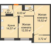 2 комнатная квартира 59,55 м² в ЖК Маленькая страна, дом № 4 - планировка