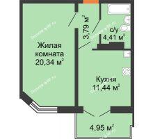 1 комнатная квартира 41,2 м² в ЖК Лазурный, дом 50 позиция (2-5 подъезд) - планировка