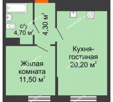 1 комнатная квартира 40,7 м² в ЖК Любимый дом, дом Литер 2 - планировка