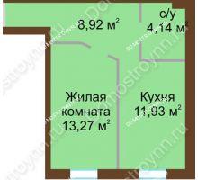 1 комнатная квартира 38,26 м² в ЖК Каменки, дом №14