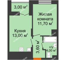 1 комнатная квартира 33,8 м² в ЖК КМ Анкудиновский парк, дом № 16 - планировка