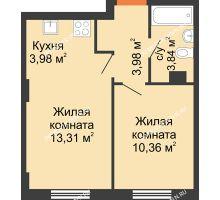 2 комнатная квартира 35,47 м², ЖК Каскад на Ленина - планировка