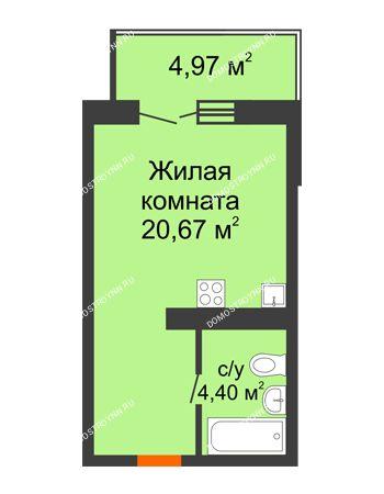 Студия 26,56 м² в ЖК КМ Анкудиновский парк, дом № 20