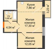 2 комнатная квартира 45,7 м² в ЖК Бограда 109, дом № 2 - планировка