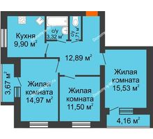3 комнатная квартира 73,42 м² в ЖК БелПарк, дом 2 очередь - планировка