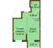 1 комнатная квартира 38,38 м² в ЖК Красная поляна, дом № 8