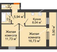 2 комнатная квартира 49,45 м² - ЖК Дом у озера