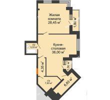 2 комнатная квартира 88,76 м² в ЖК Соборный, дом № 1 - планировка