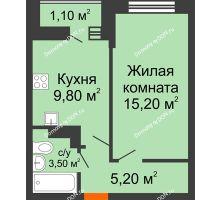 1 комнатная квартира 34,8 м² в ЖК SkyPark (Скайпарк), дом Литер 1, корпус 1, блок-секция 2-3 - планировка