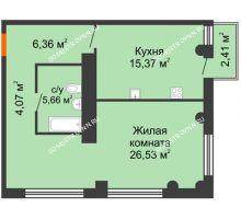 1 комнатная квартира 58,71 м² в ЖК Ренессанс, дом № 1 - планировка