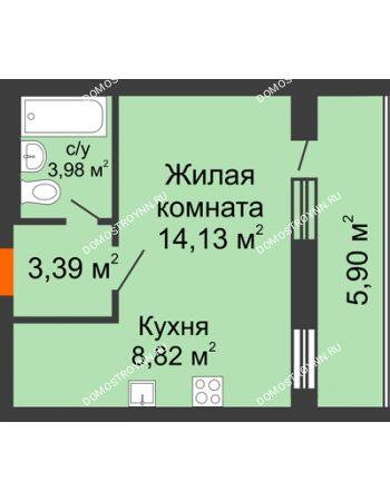1 комнатная квартира 33,18 м² - ЖК Дом у озера