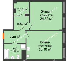 1 комнатная квартира 79,37 м² в ЖК Георгиевский, дом 2а - планировка