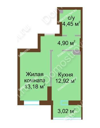 1 комнатная квартира 38,47 м² в ЖК Красная поляна, дом № 8