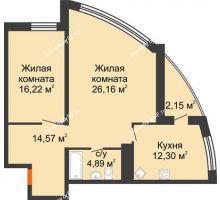 2 комнатная квартира 76,3 м² в ЖК Империал, дом Литер 9 - планировка