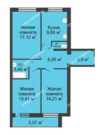 3 комнатная квартира 71,73 м² в ЖК Удачный, дом № 3