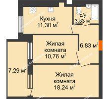 2 комнатная квартира 54,61 м² в ЖК Свобода, дом 1 очередь