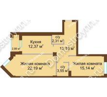 2 комнатная квартира 69,6 м² - ЖК Грани
