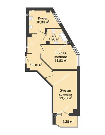 2 комнатная квартира 64,58 м² в ЖК Мега, дом № 1