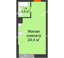 Студия 28,2 м² в ЖК Подкова на Родионова, дом № 2 - планировка