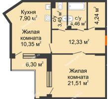 1 комнатная квартира 67,39 м², ЖД Жизнь - планировка