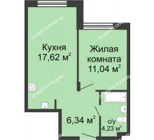 1 комнатная квартира 39,23 м² в ЖК Клевер, дом № 1 - планировка