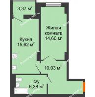 1 комнатная квартира 48,32 м² в ЖК Аврора, дом № 3 - планировка