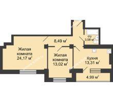 2 комнатная квартира 65,06 м² в ЖК Сердце Ростова, дом Этап I
