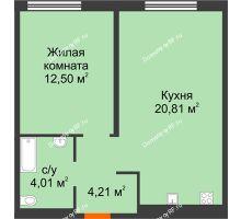 1 комнатная квартира 41,53 м² в ЖК Акватория, дом ГП-1 - планировка
