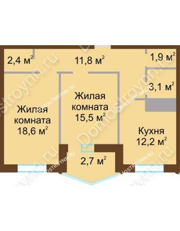 2 комнатная квартира 68,2 м² в ЖК Монолит, дом № 89, корп. 1, 2