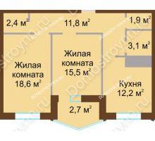 2 комнатная квартира 68,2 м² в ЖК Монолит, дом № 89, корп. 1, 2 - планировка