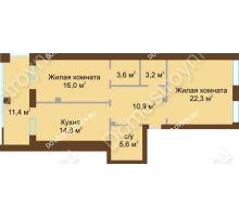 2 комнатная квартира 81,9 м², Жилой дом: ул. Почаинская д. 33 - планировка