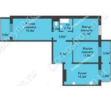 3 комнатная квартира 74,8 м² в ЖК Сормовская сторона, дом № 4