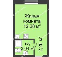 Студия 17,58 м² в ЖК Бурнаковский, дом № 38 - планировка